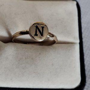 Gold Tone N Monogram Adjustable Ring Simple Style